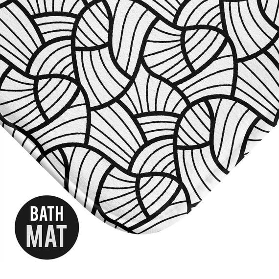 Black and White Pattern Bath Mat - Available in Two Sizes