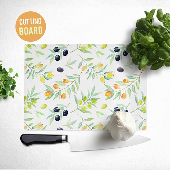 Tempered Glass Cutting Board - Olives Pattern - Cute Kitchen Decor
