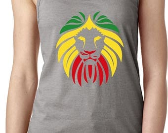 Ladies Rasta Lion Head Ideal Tank Top LIONHEAD-N1533