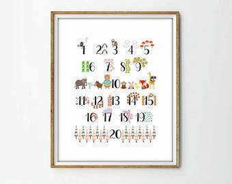 numbers, nursery numbers, numbers print, animals print, animals numbers, nursery decor, kids room art, kids room, 4 sizes included