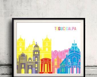 Tegucigalpa skyline pop - Fine Art Print Glicee Poster Gift Illustration Pop Art Colorful Landmarks - SKU 2387