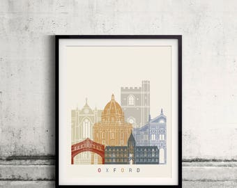 Oxford V2skyline poster - Fine Art Print Landmarks skyline Poster Gift Illustration Artistic Colorful Landmarks - SKU 2752