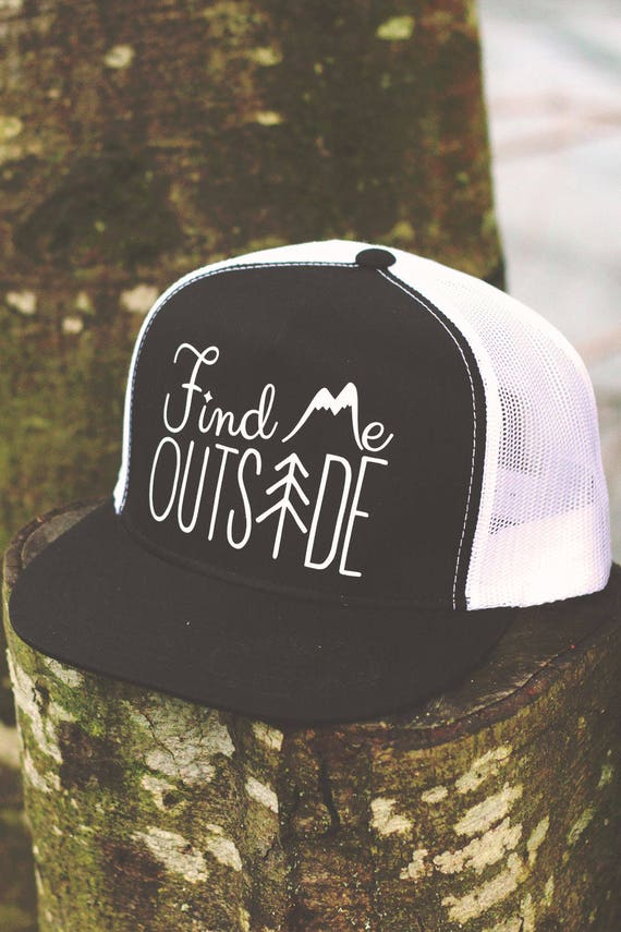 Find Me Outside Mesh Snap Back Trucker Hat One Size Fits