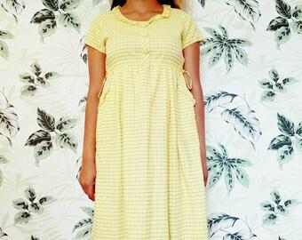 Vintage summer dress - cotton summer dress Uk size 10/12 Eu 40 yellow cotton fabric