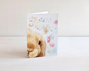 Easter bunny card etsy easter cards bunny card easter gift easter bunny card lop eared rabbit negle Image collections