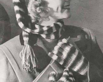 Striped Stocking Cap Hat Tam Beanie Gloves Knit Knitting Pattern pdf