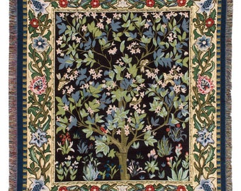 Tree of Life Tapestry Throw - William Morris Throw Blanket - 56x56 Belgian Tapestry Throw - William Morris Design Throw Blanket - TT-7141