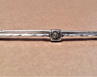 Sterling Silver and Rhinestone Bar Pin