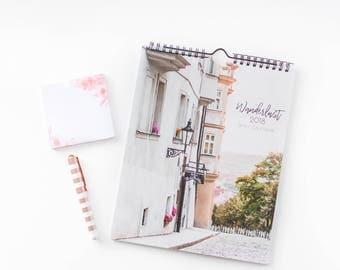 Wanderlust 2018 Calendar, 2018 Wall Calendar, Under 25, Travel Gift Under 30, Stocking Stuffer, Coworker Gift, Traveler Gift, For Travelers