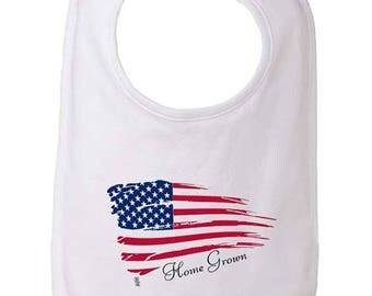 Home Grown Baby Bib, USA flag bib, Patriotic bib, US bib