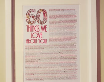 Things we love about you personalised print & frame - 60th birthday gift - 50th birthday gift - anniversary gift
