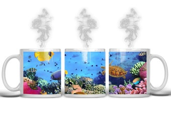 Ocean coffee mug, Sea life mug, ocean lovers mug, beach lovers gift, ocean lovers gift, fish lovers mug, tropical fish mug, tropical mug