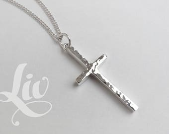Cross Necklace, Sterling Silver Cross Necklace, Handcrafted Cross Necklace, Cross Pendant, Crucifix Necklace, Silver Crucifix, Cross Jewelry