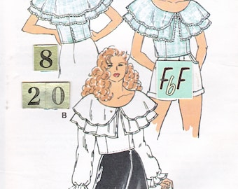 Wide Ruffled Collar Blouse, Top Sewing Pattern/ Kwik Sew 2215 Womens fitted, Peasant, Pirate Blouse, UnCut/ Size 8 10 12 14 16 18 20