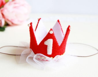 Red Crown | Baby Crown | Princess Crown | First Birthday Crown | Headband Crown | Red Hat | Felt Headband | Gift Idea For Baby Girl