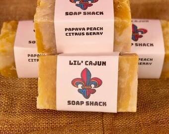 Papaya Peach Citrus Berry Natural + Vegan + Organic + Boldly-Scented + Louisiana-Handmade Big Block Soap 11.5 FL OZ