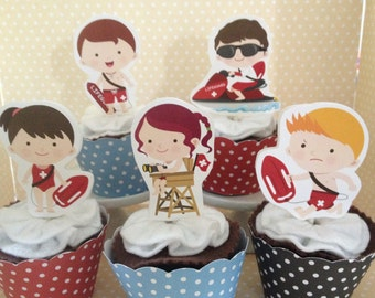 Baywatch, Lifeguard Party Cupcake Topper Decorations - Set of 10