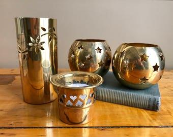 Brass Candle Holder Brass Bowl Brass Vase Brass Votive Candle Holder Heart Decor Star Decor Brass Decor Brass Candle Holder Vintage Candles