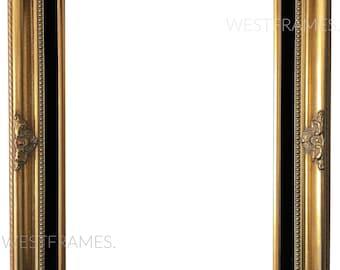 Estelle Antique Gold Leaf Wood Picture Frame with Black Velveteen Liner