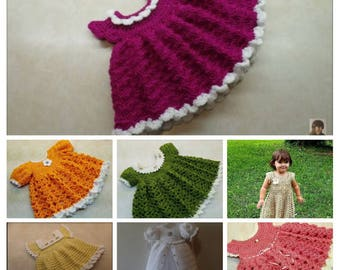 AWESOME DEAL!!! 7 Crochet Baby Dress Patterns Digital Downloads Only Zip File