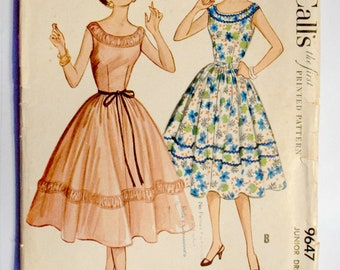 McCall's Junior Teen 1950s Full SKirt Sewing Pattern 9647 Size 9 Bust 28 Uncut