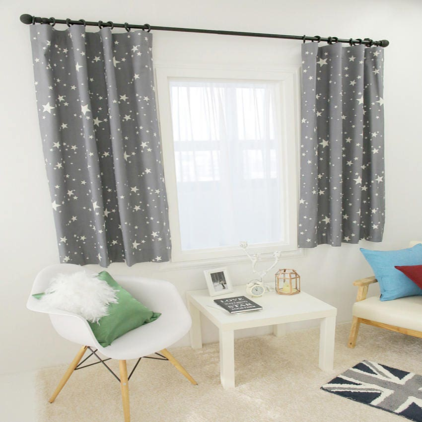 stars print gray curtain kids curtains 100 cotton