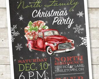 Retro Christmas Party Invitation, Retro Christmas Invitation, Christmas Open House Invitation, Christmas Party Invite, Holiday Party Invite