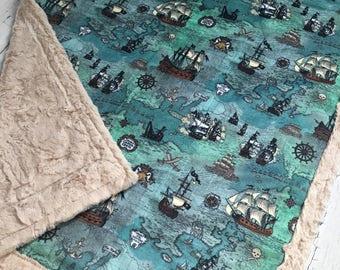 Pirate Map Blanket - Designer Minky - Beige
