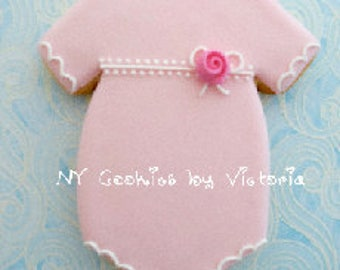 Baby Girl Onesie Cookie with a small Rose , - 12 Cookies -, Baby Shower Cookies Favors