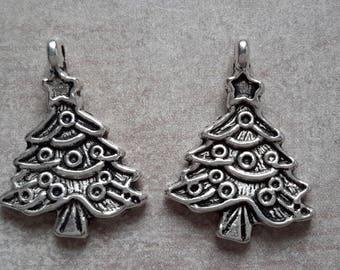 Silver Metal charms of Christmas, Christmas trees, Christmas trees - 24 x 17 mm