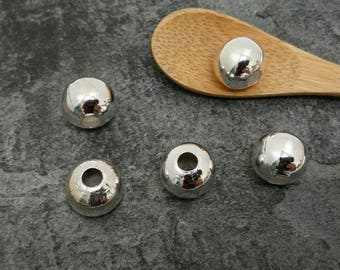 12 mm round beads big hole 4 mm, large beads, Metal Silver