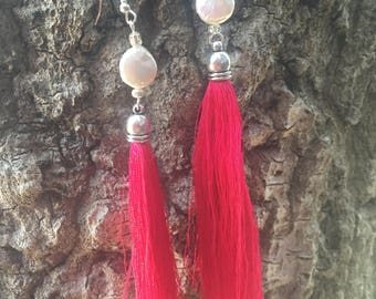 Hot pink tassels with coin pearls