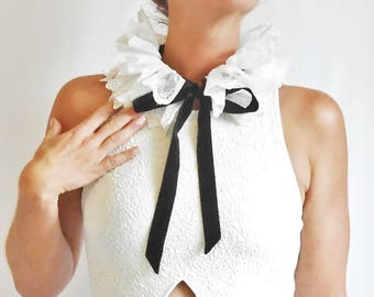Lace Neck Collar Detachable, Victorian Inspired White Lace Collar with Black Velvet Ribbon, Removable Collar Edwardian