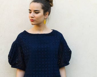 Navy blue cotton lace top with puffed sleeves, blue top,