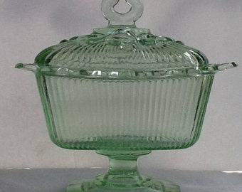 Indiana Glass Light Green Lidded Compote~Vintage GlassWare~Spectacular Lacy Edge~Candy Dish~Collectable Glass~1960s~Shabby Chic~AntiqueGlass
