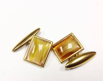Vintage, Art Deco to 1950s glass cabochon and gilt metal cufflinks.