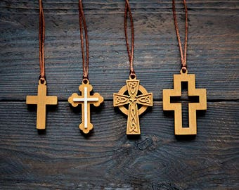 Cross necklaces, Wooden necklaces, Wooden cross necklaces, Christian jewelry, Wooden cross pendant, Wooden Necklace, Celtic cross