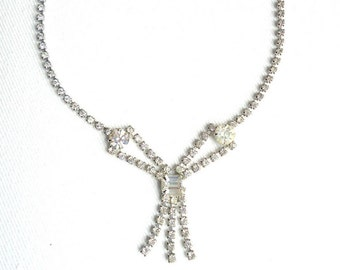 Classic Rhinestone Dangling Bow Pendant Necklace - Vintage 1950's Glamour - Estate Jewelry - Crystal Bow Pendant Necklace
