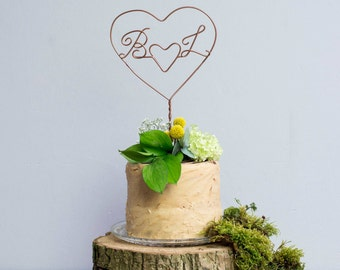Heart Cake Topper, Wedding Cake Topper, Initials cake topper, Romantic cake topper, Monogram cake topper, couple cake toppers, gift for her
