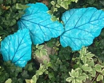 Concrete Leaf Trio, Concrete Garden Art, Concrete Leaves, Torch Lake Blue leaf Trio