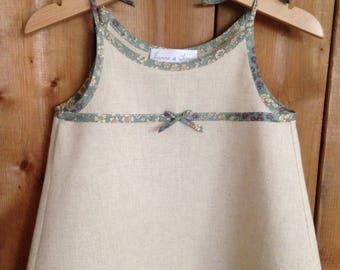 Beige dress linen dress liberty baby dress