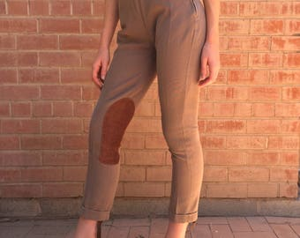 50s/ 60s Ankle Cropped Cuffed Equestrian Jodhpurs Riding Pants Legging / Petite / Size XS S Small 24
