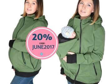 NEW Softshell Babywearing jacket, maternity coat, carrier jacket, softshell baby carrying jacket, maternity , mom and baby coat KHAKI GREEN