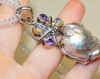 Biwa Pearl with Citrine, Amethyst and Quartz Beads set in Solid 925 Sterling Silver Necklace