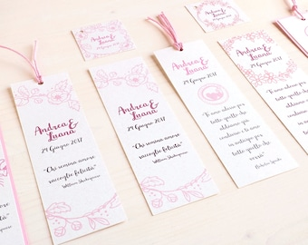 Tags - Bookmark - Wedding favor tags - Hand made in Italy