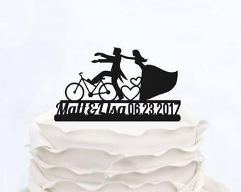 Bicycle Cake Topper_Wedding Cake Topper with surname_Custom cake Topper with date_Bride And Groom On Bike Silhouette