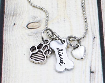 Hand Stamped Dog Necklace for Dog Lover - Custom Dog Name Jewelry - Dog Mom Necklace - Dog Lover Gift - Dog Bone Necklace - Pet Necklace