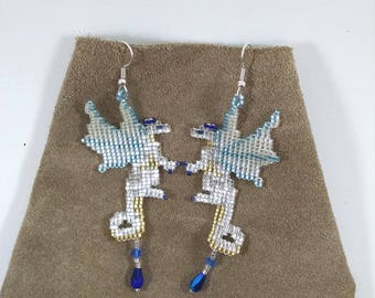 Beaded Dragon Earrings, Silver and Gold Fairy Dragon Earrings with Crystal Treasure