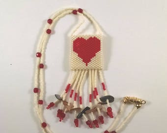 Beaded Heart Peyote Pouch Necklace, Valentine Necklace, Small Amulet Bag, Native American Art Style Jewelry, Cream and Red Love Heart Design