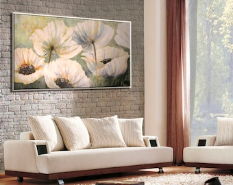 Paintings on Canvas, Large Wall Art, Flower Oil Painting, Living Room Wall Art, Wall Art Canvas, Bedroom Wall Art, Painting Flowers